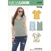 6543 New Look Pattern: Misses' Easy to Sew Tops